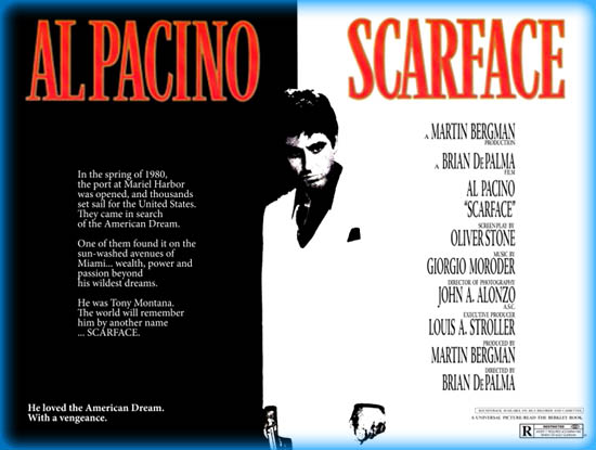 scarface 1983 articles essays Though brian de palma's scarface (1983) is considered a 'mob film' and starts out as such, by the time tony montana reaches his gargantuan gilded bathtub it's really more about drugs - specifically cocaine - and its ability to sabotage relationships and induce paranoia if, amid all the.